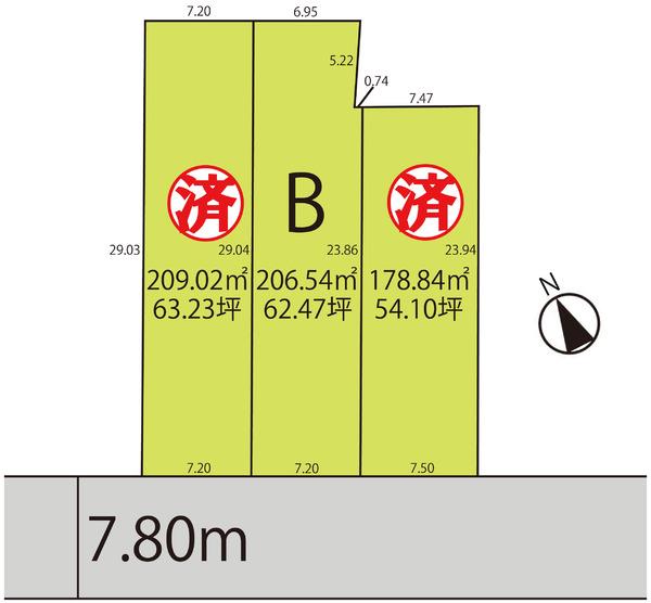 売地  / 天童市東長岡3丁目区画B